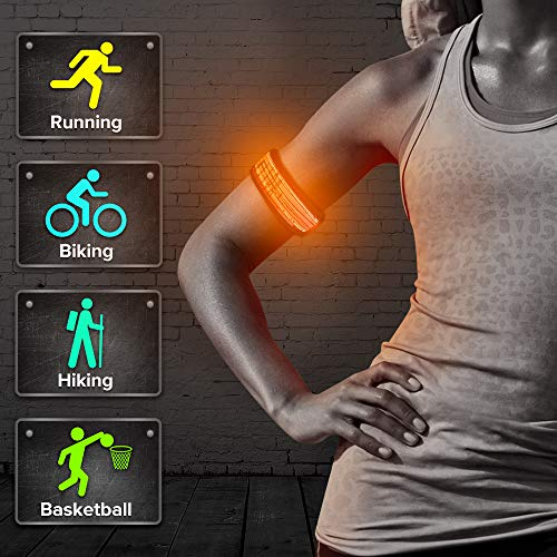 BSEEN LED Slap Bracelet, Glow in The Dark Sports Safety Event Wristband, Light Up Armbands for Running, Cycling, Jogging, Hiking (Orange-Logo3)