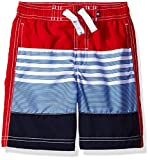 Nautica Little Boys' Swim Trunk with UPF 50+ Sun Protection, Carmine Multi Stripe, Extra Large (7X)