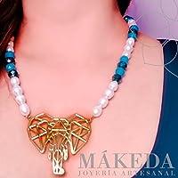 Collar y Aretes | Chapa Oro | Elefante enchapado en oro y perlas cultivadas