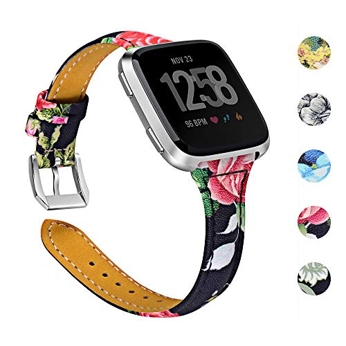 Joyozy Genuine Leather Bands Compatible with Fitbit Versa &New Fitbit Versa Lite Smartwatch,Replacement for Accessories Fitness Strap Women Men(5.5