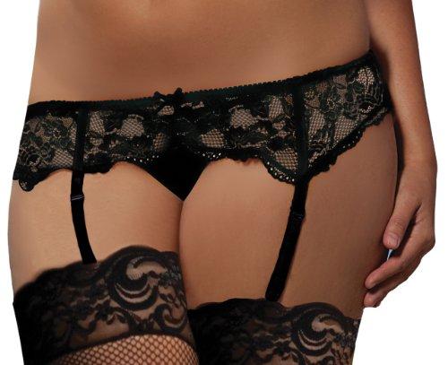Seven Til Midnight Women's All Lace Garter Belt Plus, Black, 1-2X -