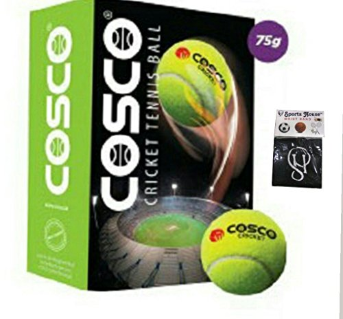 Cosco 12001 Light Cricket Tennis Balls (Pack of 6) AND FREE SPORTSHOUSE WRIST BAND by Unknown