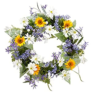 "22"" Silk Sunflower, Daisy & Agapanthus Flower Hanging Wreath -Yellow/White (Pack of 2) 95"