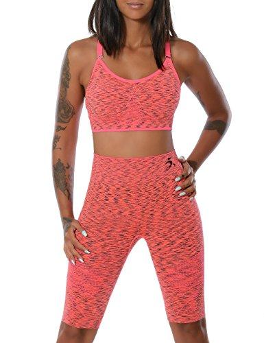 Damen Yoga Sport-Set Fitness Push-Up BH mit Hot-Pants (weitere Farben) No 14030, Farbe:Lachs;Größe:L / XL