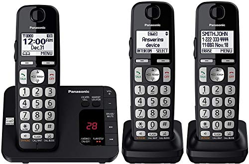 PANASONIC DECT 6.0 Expandable Cordless Phone System with Answering Machine and Call Blocking - 3 Handsets - KX-TGE433B (Black) (Best Business Answering Machine Messages)