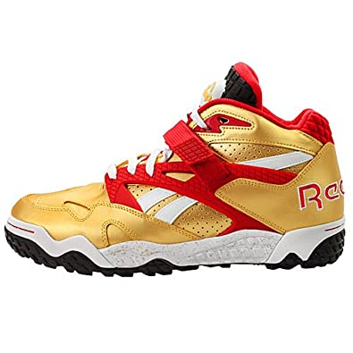 7c6e848e1701f Reebok Pump Paydirt Mid Mens in Gold/Red/Black