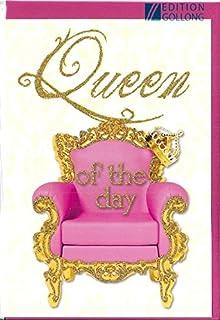 Postkarte Queen Of The Day Geburtstag Glimmerlack Amazon De