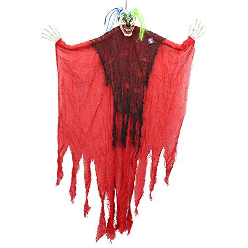 Halloween Haunters 4 Foot Hanging Scary Circus Clown Ghoul with Smile Prop Decoration - 1/3 Life-Size Scale Spooky White Face with Neon Blue and Green Hair - Fun Entryway Display -