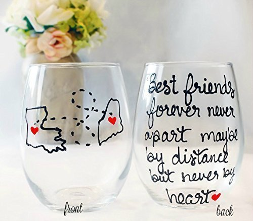 Best Friend Gift For Women | Best Friends Forever Never Apart Maybe By Distance But Never By Heart | Hand Painted Wine Glass | Long Distance Friendship Gift | Stemmed or Stemless Available (Hand Painted Glass Reverse)