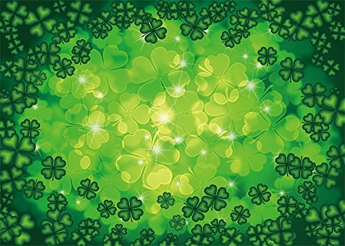 Leowefowa Vinyl 7X5FT Lucky Irish Shamrock Backdrop Green Four-leaf Clover Shining Spots Nature Happy St. Patrick's Day Photography Background Kids Adults Photo Studio Props