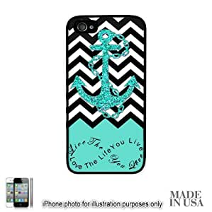 Anchor Live the Life You Love Infinity Quote (Not Actual Glitter) - Mint Black White Chevron with Anchor iPhone 4 4S Hard Case - BLACK by Unique Design Gifts