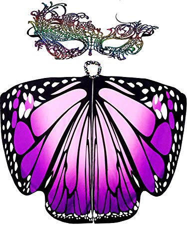 Ladies Butterfly Wings Shawl Cape,Party Prop Soft Butterfly Wing Costume Accessory for Adult Women (168X135, Purple)