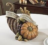 "Harvest Collection Thanksgiving Pumpkin Cornucopia Table Centerpiece 12.25"""
