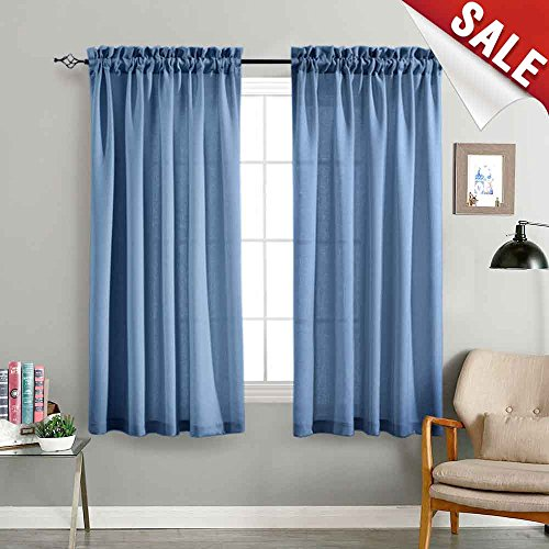 Sheer Curtain Panels for Bedroom 63 Inches Length Semi Sheer Privacy Blue Voile Curtains Casual Weave Textured Kitchen Window Draperies 1 Pair