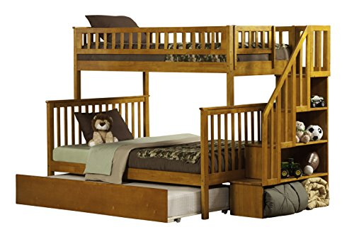 Atlantic Furniture Woodland Staircase Bunk Bed with Urban Trundle, Caramel Latte, Twin Over Full (Twins Storage Step)