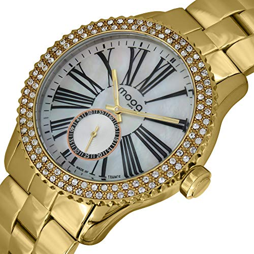Moog Paris Petite Seconde Women's Watch with White Mother of Pearl Dial, Gold Stainless Steel Strap & Swarovski Elements - M45232-106