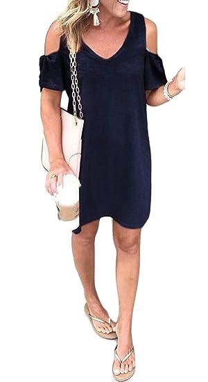 1c9049a459d ARTFFEL Women Cold Shoulder Short Sleeve Solid Color Casual Loose Mini T-Shirt  Dress at Amazon Women s Clothing store