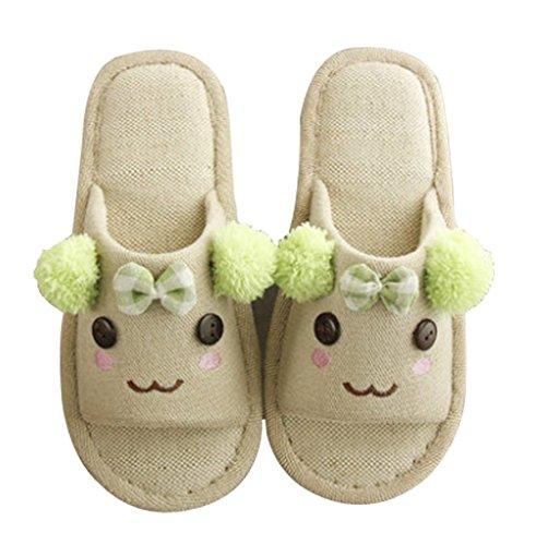 Cattior Mujeres Summer Cute Funny Slippers Damas Zapatillas Open Toe Green
