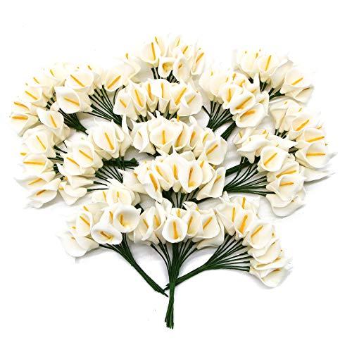 AQUEENLY Calla Lily Artificial Flowers 20 PCS Mini Foam Calla Lily Real Touch for Bride Wedding Home Decor(White)