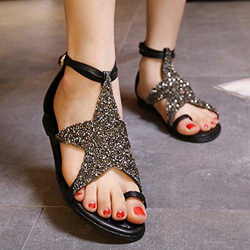 Btrada Vrouwen Star Romeinse Platte Platform Sandalen Comfort Gesp Zomer Sandalen Zwart