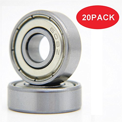Miniature Split Ring - 20-Pack 608 ZZ Ball Bearings, 608zz Metal Double Shielded Miniature Deep Groove Skateboard Ball Bearings (8mm x 22mm x 7mm)