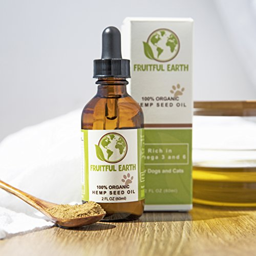 Fruitful Earth 100% Organic Hemp Seed Oil | Balanced Essential Omega Fatty Acids | Natural Pet Care for Skin and Coat Health, Immunity, Allergy Relief, Joint Pain, and More