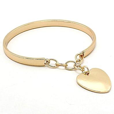 16bcc098f9b6 Amazon.com  Uniklook Women s Classic Gold Chain Heart Charm Rigid ...
