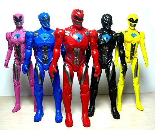 5pcs Power Rangers Movie Action Figure Jason Kimberly Play set Toy W/ Light 17cm -