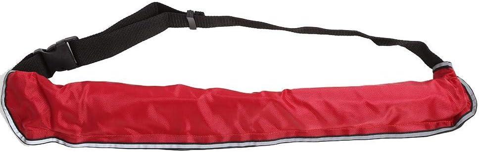 ライフジャケットベルト、手動インフレータブルベストベルトパックwith反射テープand Whistle forスタンドUpパドルボード、カヤック、釣り レッド
