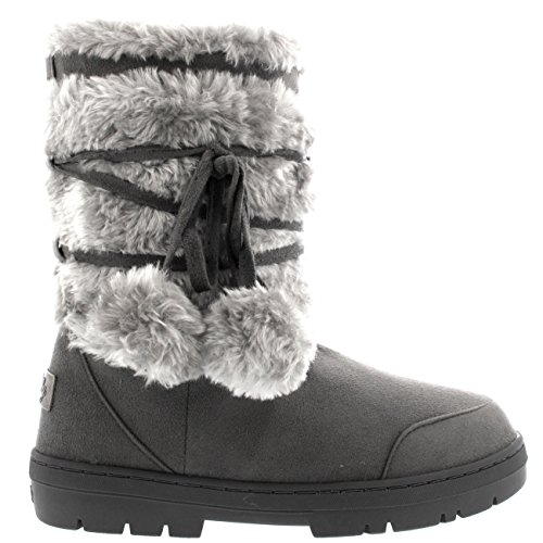 Image of Womens Pom Pom Fully Fur Lined Waterproof Winter Snow Boots, Size 9, Grey