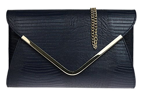 Bolso Animal Señoras Girly del Impreso Piso Metal Embrague de Marrón HandBags Negro Azul Tarde Sobre H0w5B0q