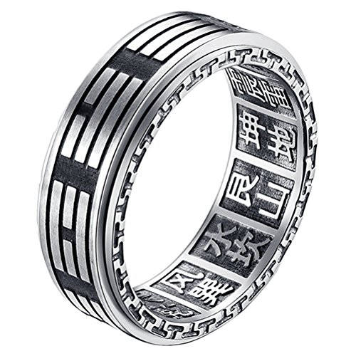 s Steel Yin Yang Tai Chi Amulet Mantra Prayer Ring 8mm Silver Taoism Band Size 8 (Prayer Spin Ring)