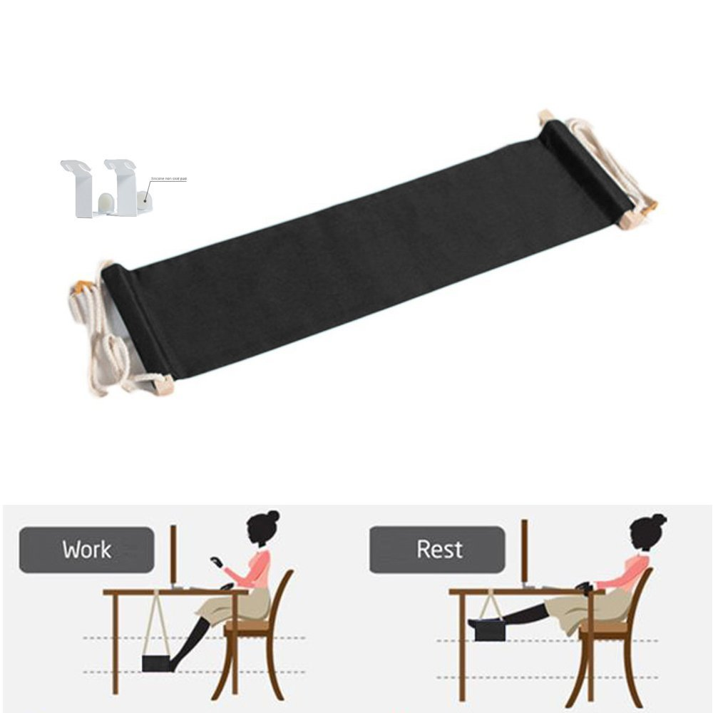 JUN-Q® Canvas Foot Rest Desk Hammock,Mini Office Under Desk Foot Rest Stand Foot Hammock , Adjustable Desk Feet Hammock (Black) HF HF-US-FH001-002