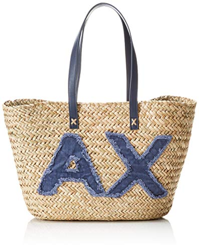 28x15x55 Straw Cm X Sac Exchange Bag H De Femme Natural navy T Plage b Bleu Armani HPARwqP
