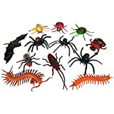 BESTLEE 12 Pcs Soft Plastic Realistic Insect Animal Toy Action Figure Centipede Spider Fly Cockroach Bat Spider Ladybug Honeybee Beetle