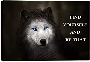 Motivational Wall Art Blue Eye Wolf Picture Inspirational Canvas Painting Positive Quotes Posters Prints Artwork for Home Office Decor House Decoration Living Room Bedroom Ready to Hang - 12