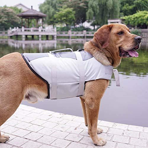 XDYFF Dog Lifesaver Vest Life Jacket, Adjustable Pet Life Preserver Safety Dog Swimming Pool Vest Dog Saver Life Vest Coat for Swimming, Surfing, Boating, Hunting,Gray,XS