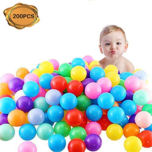 FINGOOO 2.16 Inch Phthalate Free Fun Crush Proof Balls Soft PE Air-Filled Ocean Ball Play Balls Pit Balls for Baby Kids Tunnel/Tent/Pool/Swim Jump House Pack of 200 -