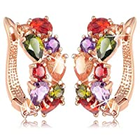 Yellow Chimes Sparkling Colors Flowerets Vine Swiss CZ Clip On Earrings