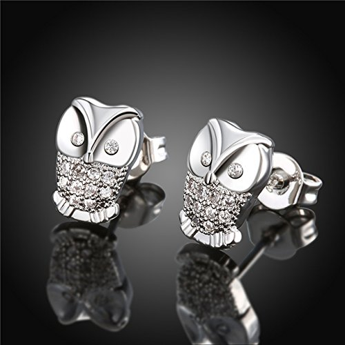 animal stud earring paved Cubic Zircon zirconia earrings lady wedding gift platinum plated Owl Earrings For Women