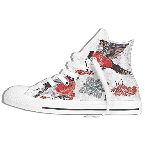 Ongyeyuan Bullfinch Birds Snowflakes Rowan In Watercolor Style High Top Classic Casual Canvas Fashion Shoes 35 (Yarns Rowan Classic)
