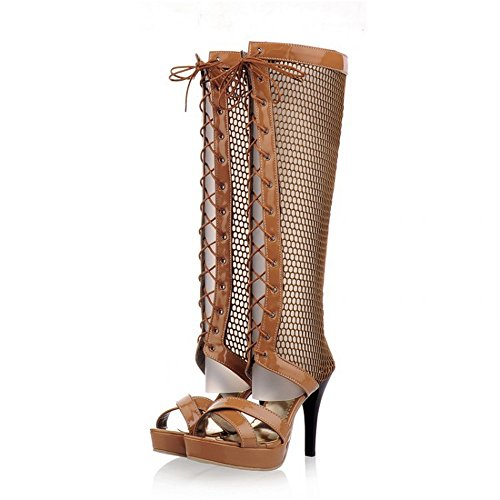 Shoelace Grueso Sandalias Botas La Inferior de Amarillo Redonda Mujer Tacón QXH Cabeza 32 Alto de Wv7ASaS