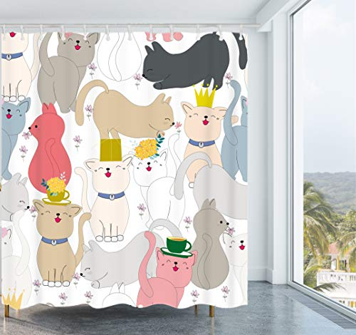 Get Orange Cat Shower Curtain Cute Cat Kitten Flower Waterproof Fabric Polyester Shower Curtain Set with Hooks72 X 72 Inches ()