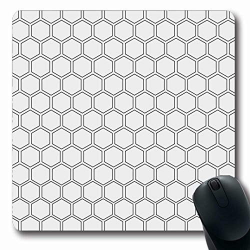 (Ahawoso Mousepads Ornate Geometric Abstract Minimalistic Black White Pattern Iteration Hexagon Shape Polygon Net Mesh Oblong Shape 7.9 x 9.5 Inches Non-Slip Gaming Mouse Pad Rubber Oblong Mat)