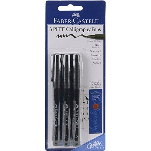 (Faber-Castel PITT Calligraphy Pens Chisel Tip, 2.5mm, Black,)