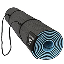 Matymats Non Slip TPE Yoga Mat with Carry Strap for Pilate Gymnastics Bikram Meditation Towel- High Density Thick 1/4'' Durable Mat 72