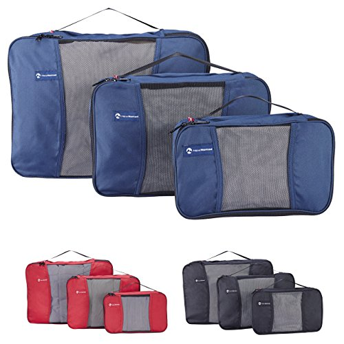 Premium Set of 3 Packing Cubes, Superior Travel Organizer Fits Inside Suitcases, Light Weight, Durable Fabric & Zippers, Highest Quality Materials (Blue) by NewNomad (Image #5)