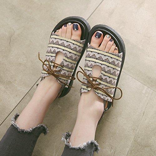 Épaisse Smelle Sandales Marron Été Sandale Bohême Sabots Pied Mules JITIAN Chaussures Lace Femmes Nu Up Fashion Chunky Platform Mesh 8w7O6qFx