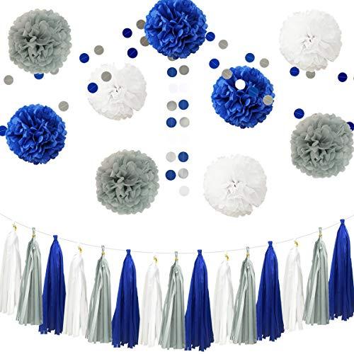 InBy 23pcs Royal Blue Gray White Baby Shower Birthday Wedding Tissue Paper Pom Pom Party Decoration Kit - 12