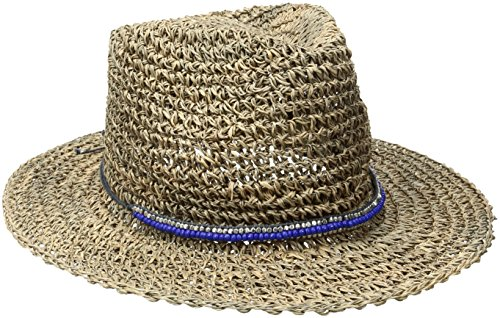 ale by Alessandra Women's Trancoso Crochet Seagrass Hat With Beaded Metal Trim, Natural/Royal, One Size Nat Sea Wool